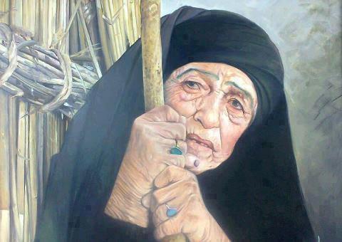 نقاشی عربی,رسم عربی,ترسیم عربی,رسوم عربیه,عرب,عرب ایران,پیرزن عربی