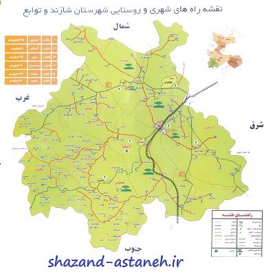 نقشه شهرستان شازند