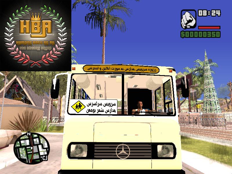 دانلود مینی بوس بنز قدیمی سرویس مدارس ایران برای جی تی ای سن آندرس