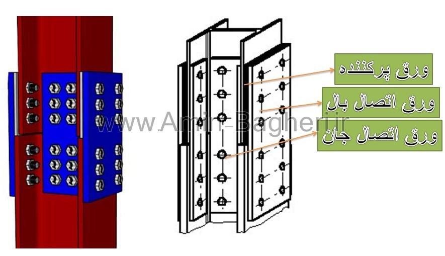 وصله ستون های غیر هم سایز (غیر هم نمره) – با ورق پرکننده