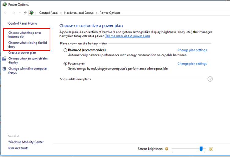 power option in Windows