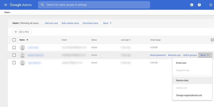 restore data google workspace نحوه بازیابی ایمیل های حذف شده از جیمیل