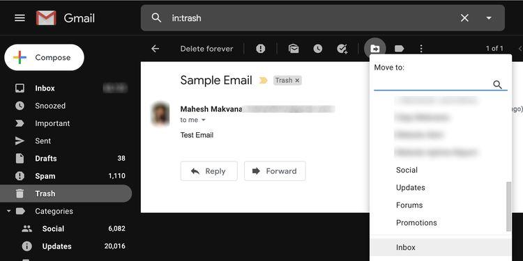recover gmail email trash نحوه بازیابی ایمیل های حذف شده از جیمیل