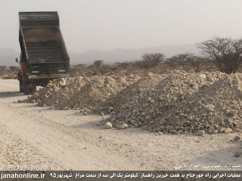گزارش تصویری>زیرسازی راه خور از سمت روستای مراغ شهرستان بندرلنگه درحال انجام است+۹عکس