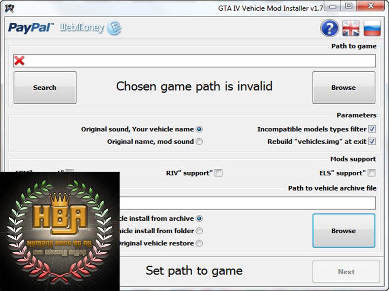 دانلود نرم افزار GTA IV Vehicle Mod Installer 1.7 نصب ماشین برای بازی جی تی ای ای ویIV