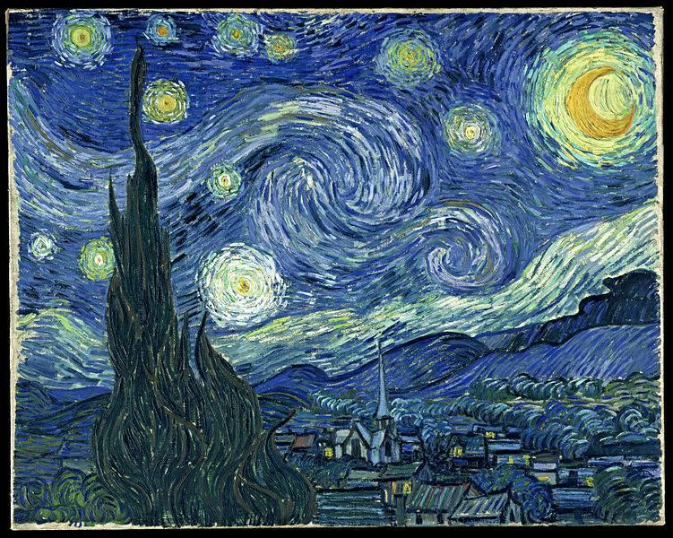 """تابلوی """"شب پر ستاره"""" اثر """"ونگوگ"""""""